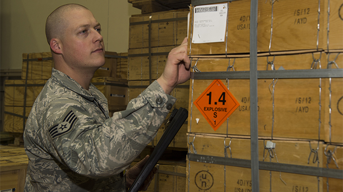 Airman performing inventory of ammunition